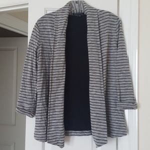 Theory Grey and Black Striped Cardigan
